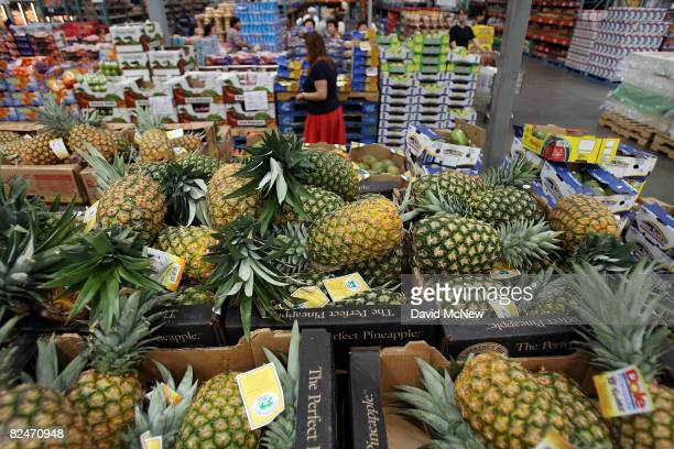 Pineapples are on display for shoppers in a large chain food store August 19 2008 in Glendale California According to the Labor Department wholesale...