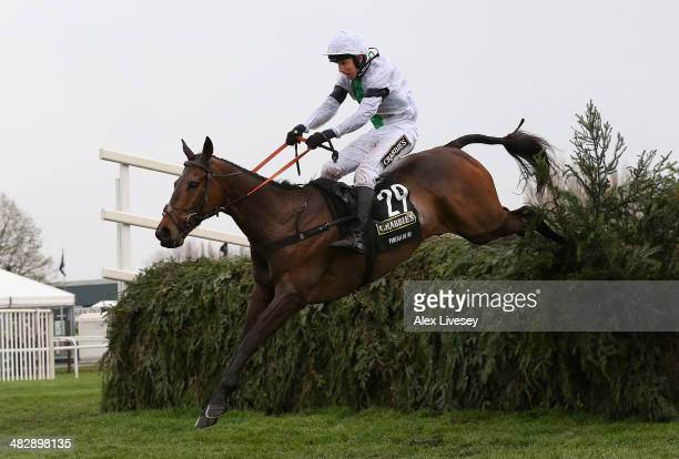 Pineau De Re ridden by Leighton Aspell clears the last fence on their way to victory in the Crabbie's Grand National Steeple Chase at Aintree...