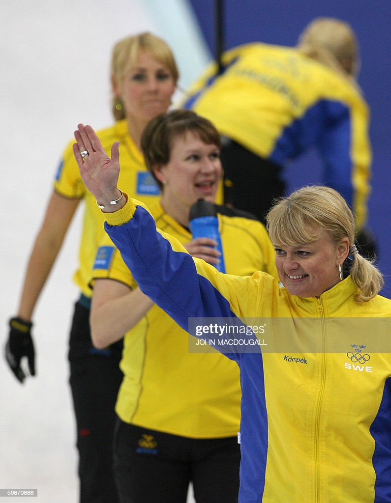 Anette Norberg sweden's skip anette norberg and her teammates wave to
