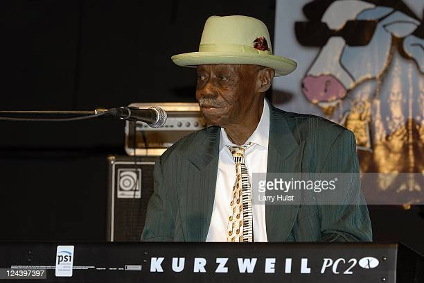 Pinetop Perkins performs with 'The Chicago AllStars at the Greeley Blues Festival in Greeley Colorado on June 9 2010