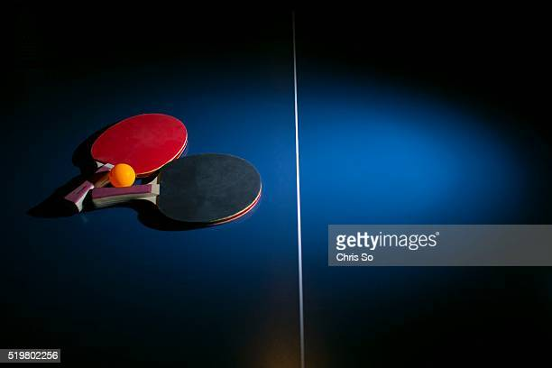 Ping pong rackets and tables at Smash ping pong lounge on Queen Street East in Toronto owned by coowners Peter Scicos and George Avalis