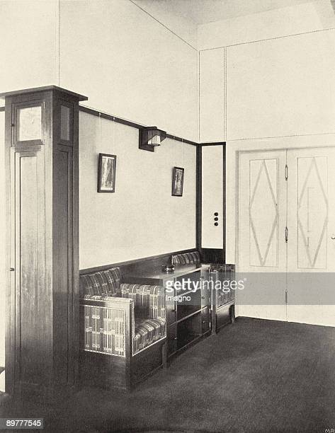 PingPongRoom in the first floor of the Sanitarium Purkersdorf The builtin chairs are upholstered with the fabric Notschrei In Deutsche Kunst und...
