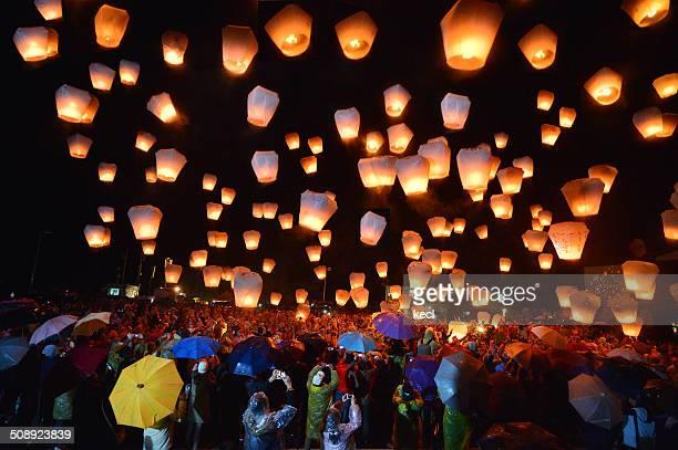 pingxi sky lantern festival - lantern festival stock photos and pictures