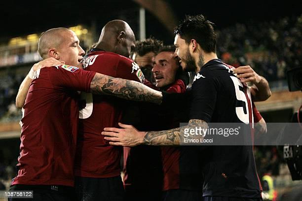 Pinilla of Cagliari celebrates scoring a goal during the Serie A match between Cagliari Calcio and US Citta di Palermo at Stadio Sant'Elia on...