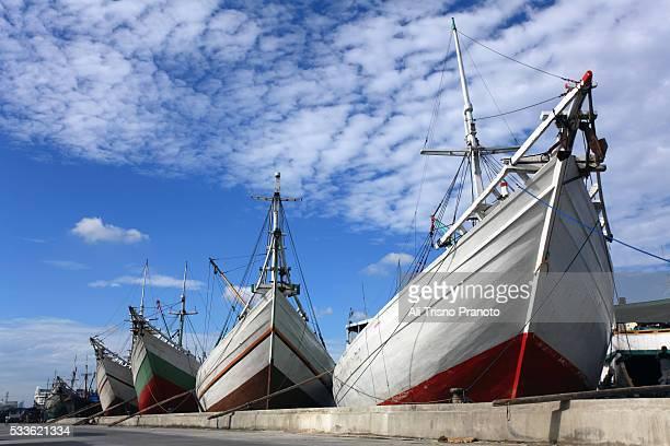 Pinisi wooden ship in Sunda Kelapa Port, Jakarta