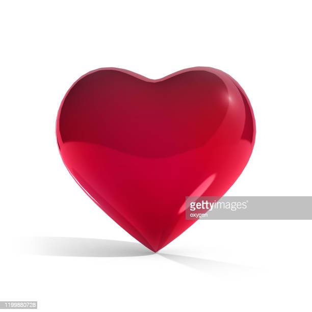 pink 3d heart shape with shadow on white background. romantic valentines day - heart shape stock pictures, royalty-free photos & images