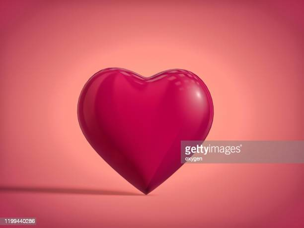 pink 3d heart shape with shadow. romantic valentines day - 愛 ストックフォトと画像