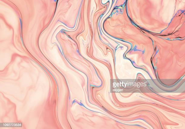 pink abstract painted marble illustration - couleur corail photos et images de collection