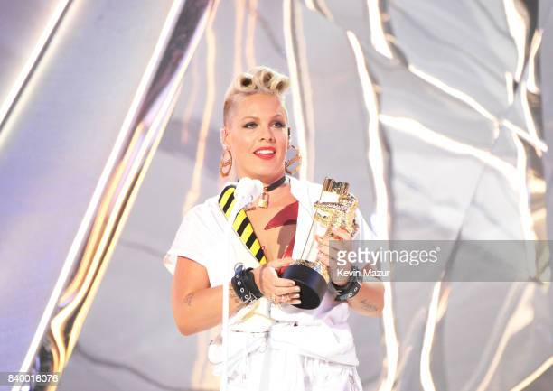 Pink accepts award during the 2017 MTV Video Music Awards at The Forum on August 27, 2017 in Inglewood, California.