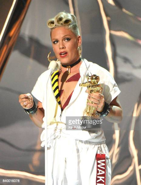 Pink accepts award during the 2017 MTV Video Music Awards at The Forum on August 27 2017 in Inglewood California