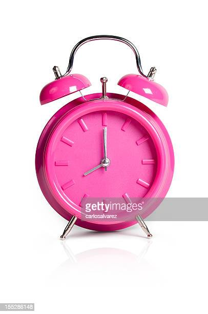 pink alarm clock w/clipping path - bell stock pictures, royalty-free photos & images