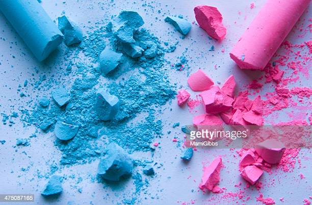 Pink and blue chalks