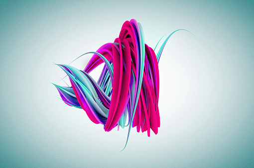 Pink and blue colored twisted shape. Abstract geometric 3D render illustration - gettyimageskorea