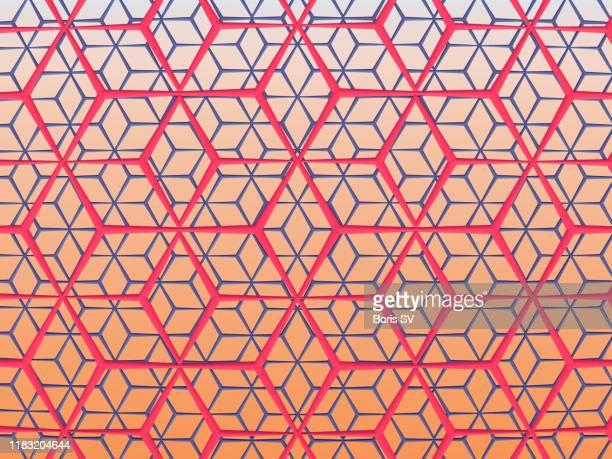 pink and blue mesh, illusion of cubes - geometria fotografías e imágenes de stock