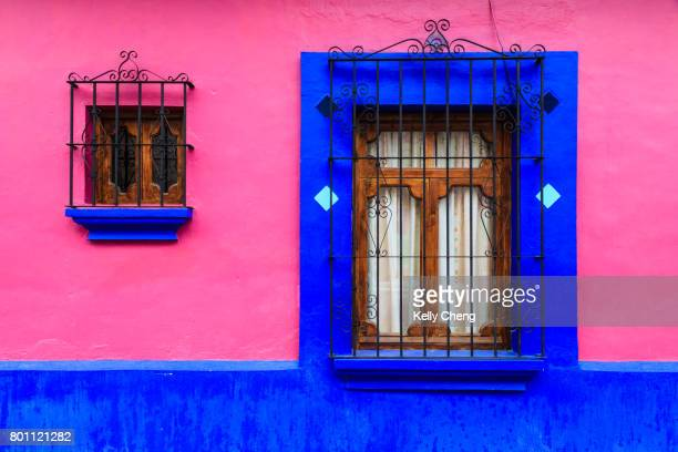 Pink and blue wall with window