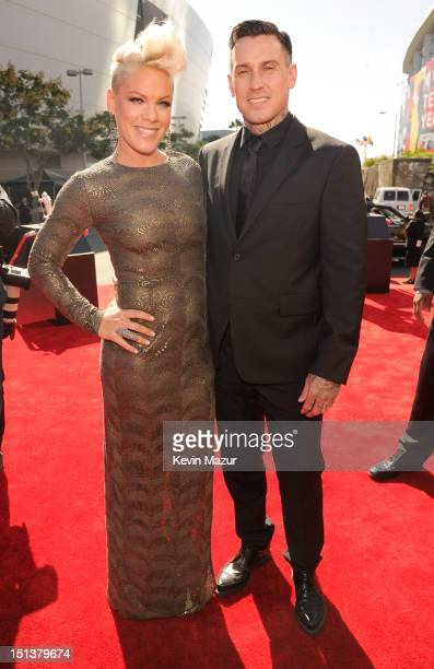Pink and Carey Hart arrive at the 2012 MTV Video Music Awards at Staples Center on September 6 2012 in Los Angeles California