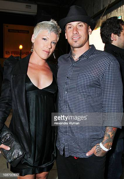 Pink and Carey Hart at The Art of Elysium Genesis Awards held at Milk Studios on August 28, 2010 in Hollywood, California.