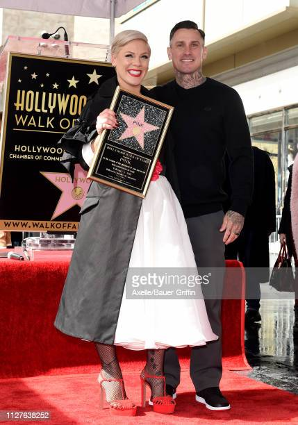 Pink and Carey Hart attend the ceremony honoring Pink with Star on the Hollywood Walk of Fame on February 05 2019 in Hollywood California