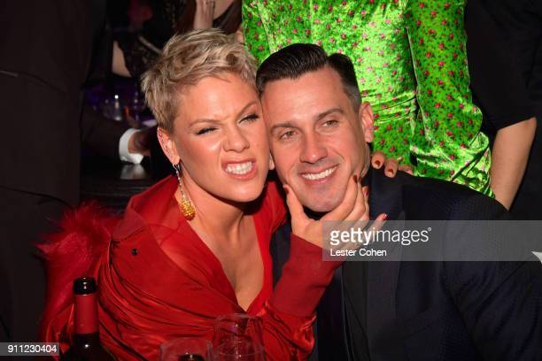 Pink and Carey Hart attend the Clive Davis and Recording Academy PreGRAMMY Gala and GRAMMY Salute to Industry Icons Honoring JayZ on January 27 2018...