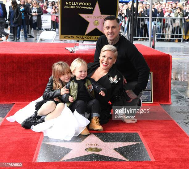 Pink and Carey Hart pose as Pink is honored with a star on The Hollywood Walk Of Fame on February 05 2019 in Hollywood California