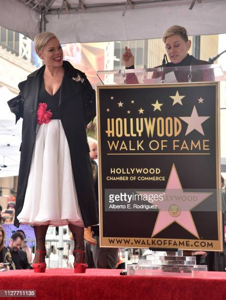 Pink and Ellen DeGeneres attend a ceremony honoring Pink with the 2656th star on The Hollywood Walk Of Fame on February 05 2019 in Hollywood...