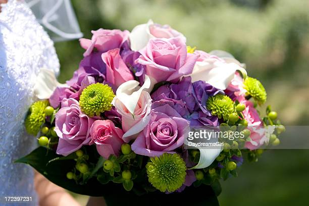 Pink and green floral wedding bouquet