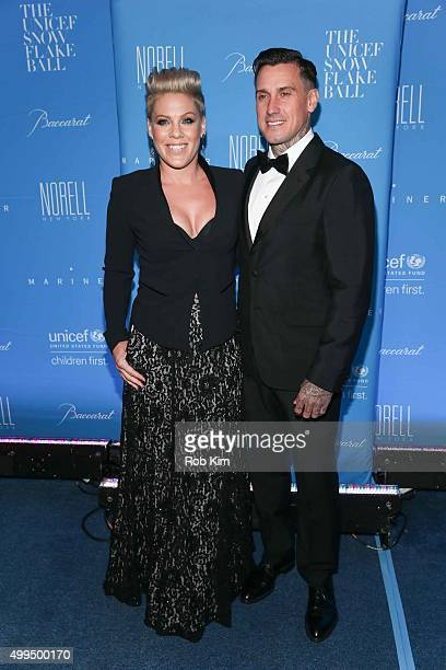 Pink and husband Carey Hart attends 2015 UNICEF Snowflake Ball at Cipriani Wall Street on December 1 2015 in New York City