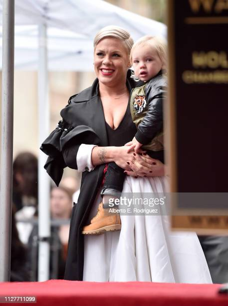 Pink and Jameson Hart attend a ceremony honoring Pink with the 2656th star on The Hollywood Walk Of Fame on February 05 2019 in Hollywood California