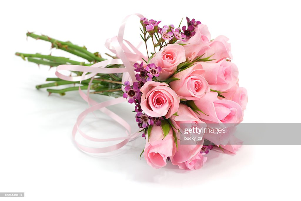 Pink and mauve rose flower bouquet isolated on white , shadows : Stock Photo