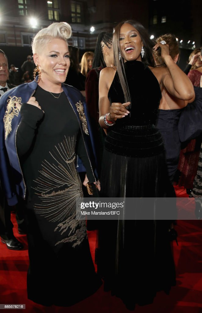 Pink and Naomi Campbell attend The Fashion Awards 2017 in partnership with Swarovski at Royal Albert Hall on December 4, 2017 in London, England.