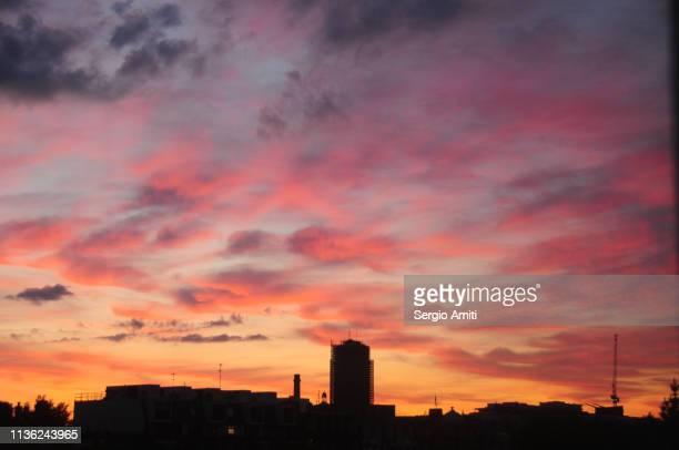 Pink and orange sunset sky