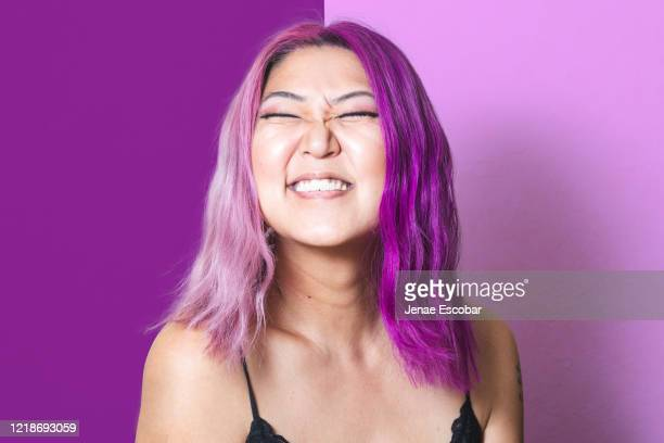 pink and purple portrait - pink hair stock pictures, royalty-free photos & images