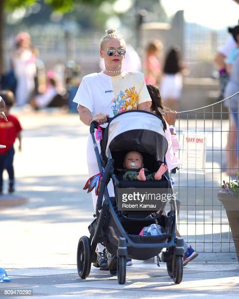 Pink and son Jameson Hart step out for a walk to the park on July 5 2017 in New York City