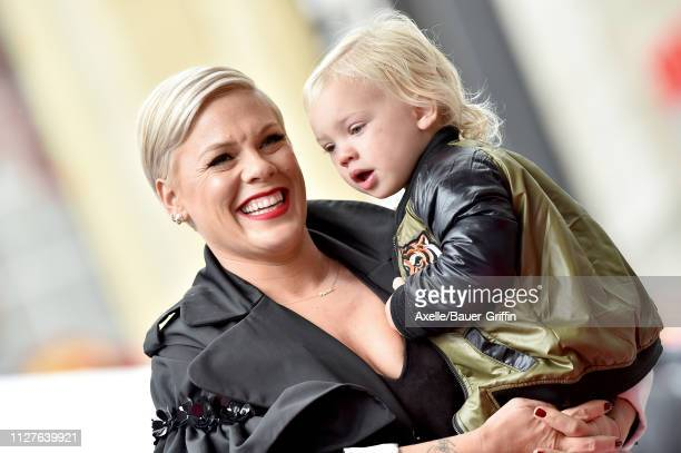 Pink and son Jameson Moon Hart attend the ceremony honoring Pink with Star on the Hollywood Walk of Fame on February 05 2019 in Hollywood California