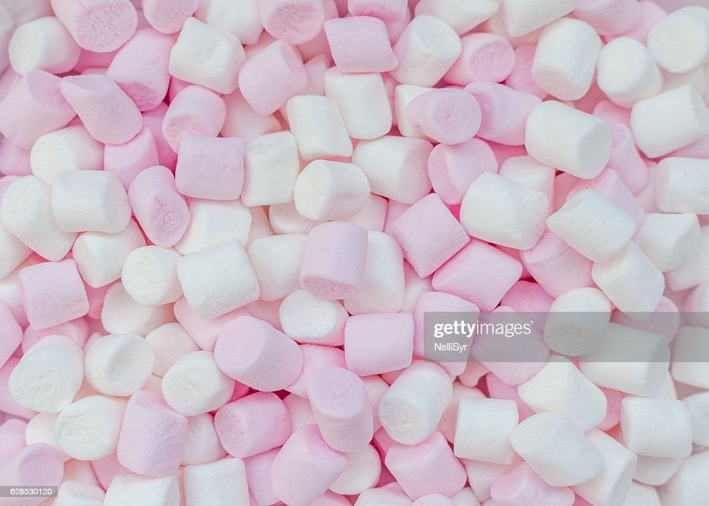 Pink and white mini marshmallows background : Stock Photo