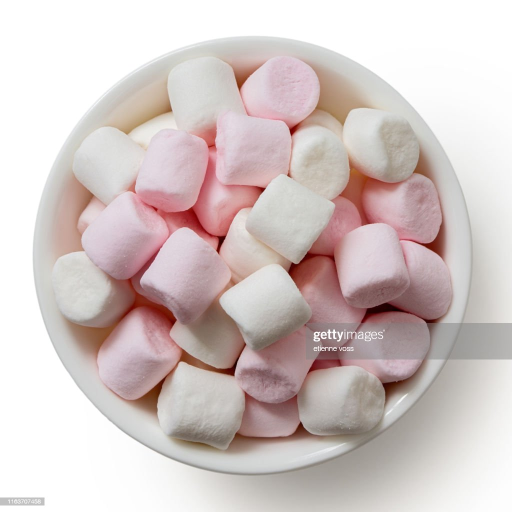 Pink and white mini marshmallows in white ceramic dish isolated on white from above. : Stock Photo