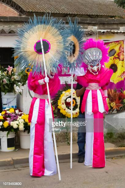 Rose et blanc fêtards sur le Día de los Muertos, Oaxaca