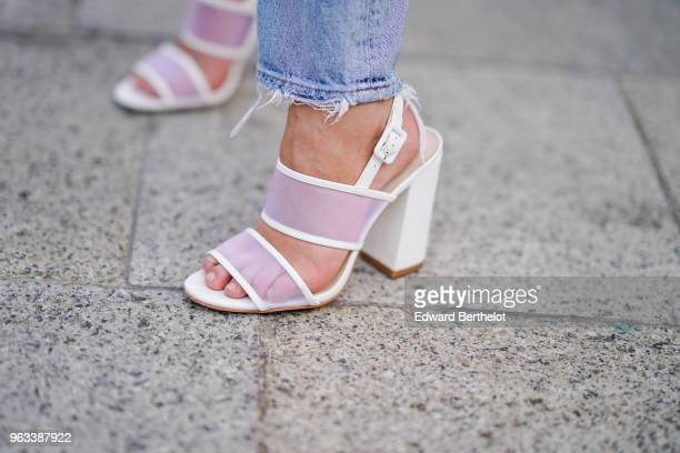 Pink and white shoes are seen on May 27 2018 in Paris France