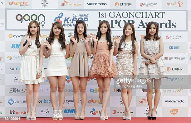 A pink arrive during the 1st Gaon Chart KPOP Awards at Blue Square on February 22 2012 in Seoul South Korea
