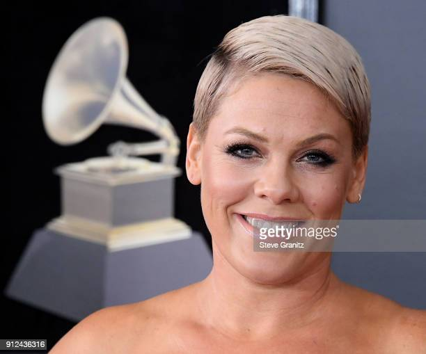 Pink arrives at the 60th Annual GRAMMY Awards at Madison Square Garden on January 28 2018 in New York City