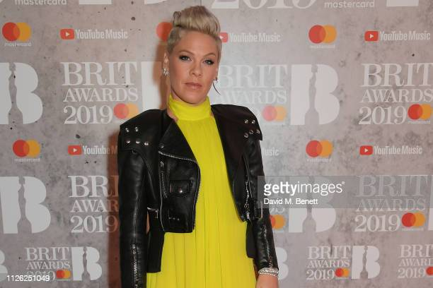 Pink arrives at The BRIT Awards 2019 held at The O2 Arena on February 20 2019 in London England