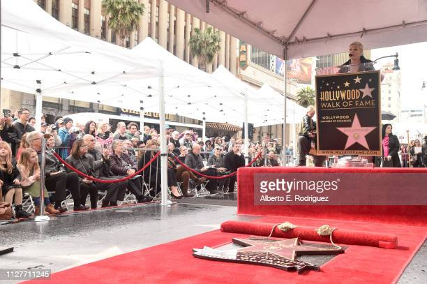 Pink attends a ceremony honoring her with the 2656th star on The Hollywood Walk Of Fame on February 05 2019 in Hollywood California