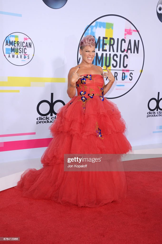 Pink attends the 2017 American Music Awards at Microsoft Theater on November 19, 2017 in Los Angeles, California.