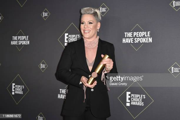 Pink attends The 2019 E! People's Choice Awards - Press Room at The Barker Hanger on November 10, 2019 in Santa Monica, California.