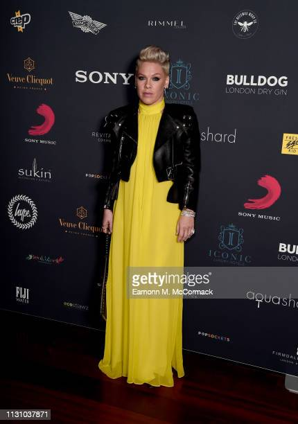 Pink attends the Sony Music BRIT awards after party at aqua shard on February 20 2019 in London England