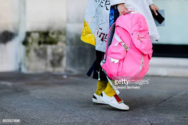 A pink bag is seen after the Balenciaga show during Paris Fashion Week Menswear Fall/Winter 2017/2018 at Place Vendome on January 18 2017 in Paris...