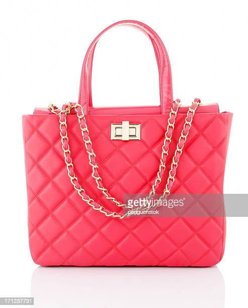 pink bag - gold purse stock pictures, royalty-free photos & images