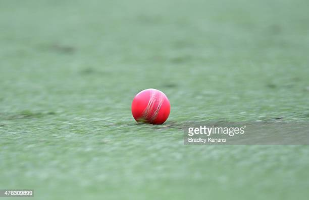 A pink ball being used in today's match rolls to the boundary for a four off the bat of Dom Michael during day one of the Sheffield Shield match...