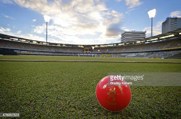 A pink ball used for night cricket matches can be seen during day one of the Sheffield Shield match between Queensland and Western Australia at The...