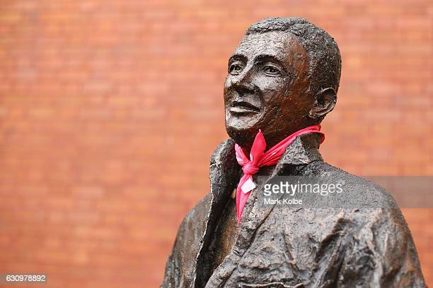 A pink bandana is seen on the neck of the SCG Trust's Basil Sellers Sports Sculptures Project sculpture of Richie Benaud as part of Jane McGrath Day...